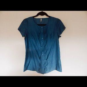 Button Scallop Ruffles Teal Blue Shirt Blouse Top